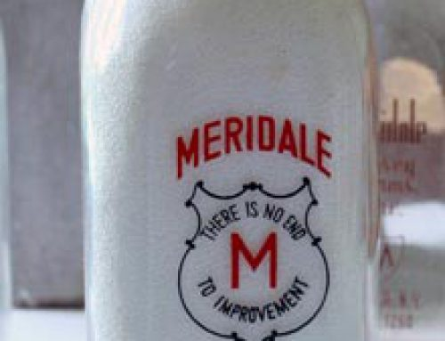Milk bottles and milk delivery box donated by Linda Riddell in 2016.